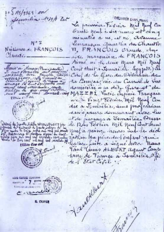 Claude Francois Acte de naissance